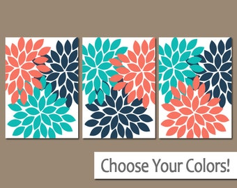 Coral Turquoise Navy Wall Art, Bedroom Canvas or Prints, Bathroom Decor, Floral Bedroom Pictures, Flower Petals Wall Art, Set of 3 Pictures