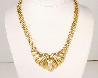 Vintage Art Deco Necklace Deco Style Fan Bib with Pearl Teardrop Wide Flat Goldtone Chain