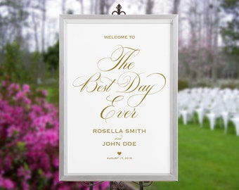 Gold Wedding Welcome Sign Template, Welcome to Our Wedding, DIY Welcome Sign, printable welcome sign, Wedding Welcome Poster, WPC_414