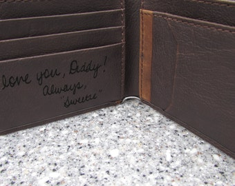 Your Handwriting Laser Engraved, Personalized Leather Wallet, Gift to Dad, Gift for HIm, Custom Wallet, Anniversary Gift, Father of Bride