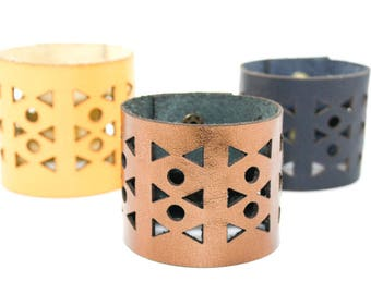 Wide Leather Cuff Bracelet - Geometric Triangle Pattern - Laser Cut Leather Cuff (Choose Your Color and Size)