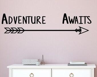 Adventure awaits wall decor- Adventure awaits wall decal- Adventure awaits decal- Adventure awaits wall art- Arrow wall decal- camping decal