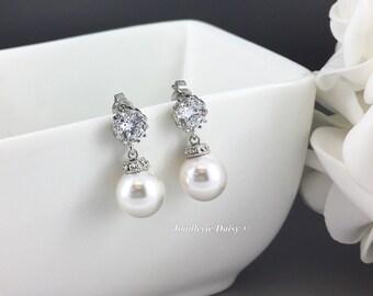 Bridesmaid Gift Swarovski Pearl Earrings Wedding Earrings Bridal Earrings Bridesmaid Earrings Wedding Jewelry Cubic Zirconia Earrings