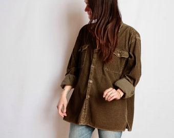 NORTHWEST corduroy women's size medium 90s electric green SLOUCHY corduroy shirt