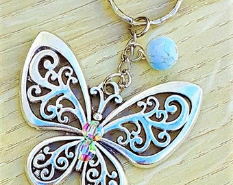 Silver Tone Butterfly with Green Turquoise Glass Bead Keyring Keychain