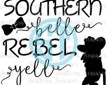 Southern Belle Rebel Yell vector Cut File .eps .ai .dxf .pdf and .jpg formats included INSTANT download