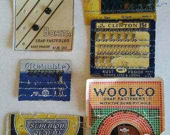 Collection old time Sewing Notions Woolco Reliable Superior Hooks and Eyes, Snaps