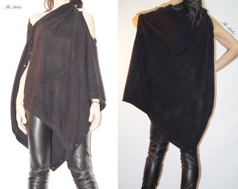Convertible Tunic/Oversized Asymmetrical Top/Warm Scarf/Short Sweater With Sleeves/Loose Poncho/Extravagant Bolero/Sweater/F1394