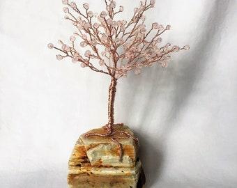 Rose Quartz Beaded Gem Tree on Sandstone Base