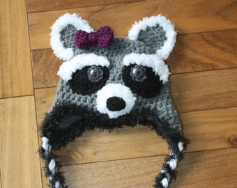 Raccoon Hat pdf PATTERN, newborn to adult sizes, animal hat pattern, photo prop, crochet, digital download