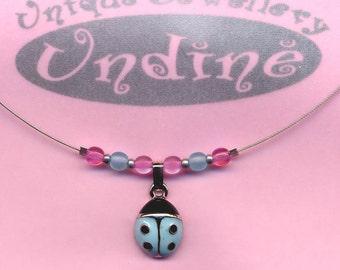 Child Size Cute Blue Ladybug Necklace