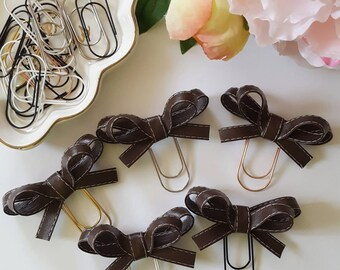 Olivia Bow paper clip: Brown with white stitching
