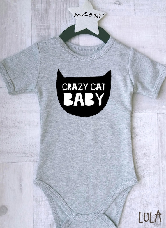 Crazy cat baby clothes Cute and funny baby romper with cat