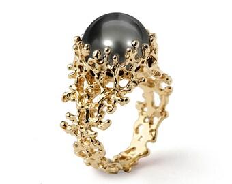 CORAL Tahitian Pearl Ring, Gold Pearl Engagement Ring, Black Pearl Engagement Ring, Unique Engagement Ring, Unique Pearl Ring
