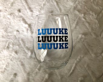 "Panthers Stemless Wine Glass ""Luuuke"" - Carolina Panthers - NFL Teams - 15 or 21 oz - Tailgate Gear - Hostess Gift-Vinyl-Father's Day"
