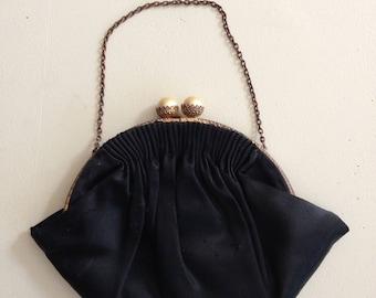 Antique Black Satin Purse