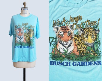 Vintage 1990s Busch Gardens Zoo Leopard Tiger Cub TShirt / 1990s Florida Hipster T Shirt Graphic Tee Retro Tee Shirt Medium Large