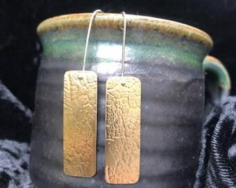 Brass leaf imprint earrings