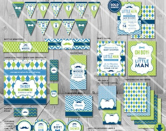 Mustache Baby Shower Decorations, Little Man Baby Shower Decorations, Boy Baby Shower Decorations, for Boy Baby Shower Printable Package Kit