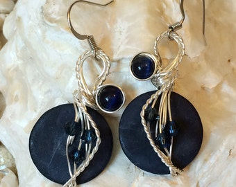 Navy Blue Earrings, Dark Blue Earrings, Crystal Jewelry, Wire Wrapped, Wire Jewelry, Indigo Earrings, Crystal Earrings, Big Earrings