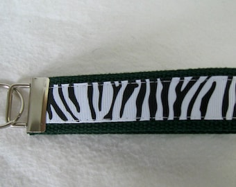 HUNTER Green Zebra Key Fob - Zebra Stripes Keychain - Animal Print Key Chain - Large Zebra Key Ring