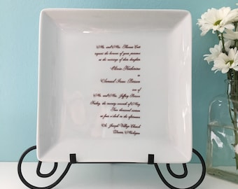 Custom Wedding Invitation Square Plate Platter Gift Newlywed Anniversary Couples Gift in law Welcome to the Family