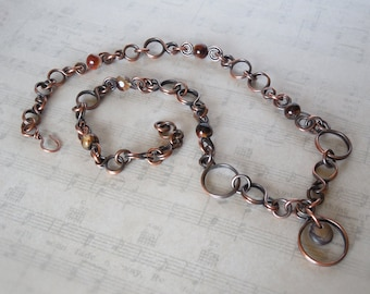 Aged Copper Circles and Agates Chain Necklace w/Purple Creek Stone Focal