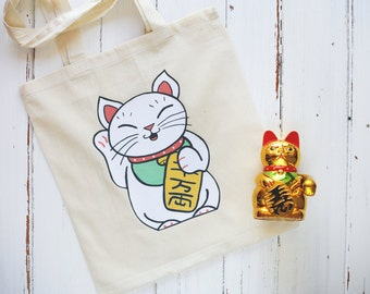 Lucky Cat Maneki-Neko Tote Bag