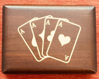 Vintage Wooden Box for Playing Cards (Double Deck)