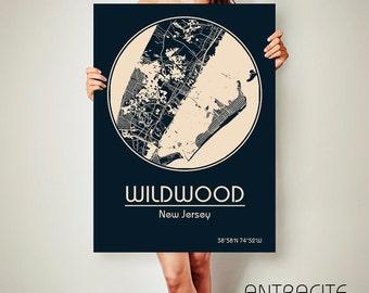 WILDWOOD New Jersey CANVAS Map Wildwood New Jersey Poster City Map Wildwood New Jersey Art Print Wildwood New Jersey