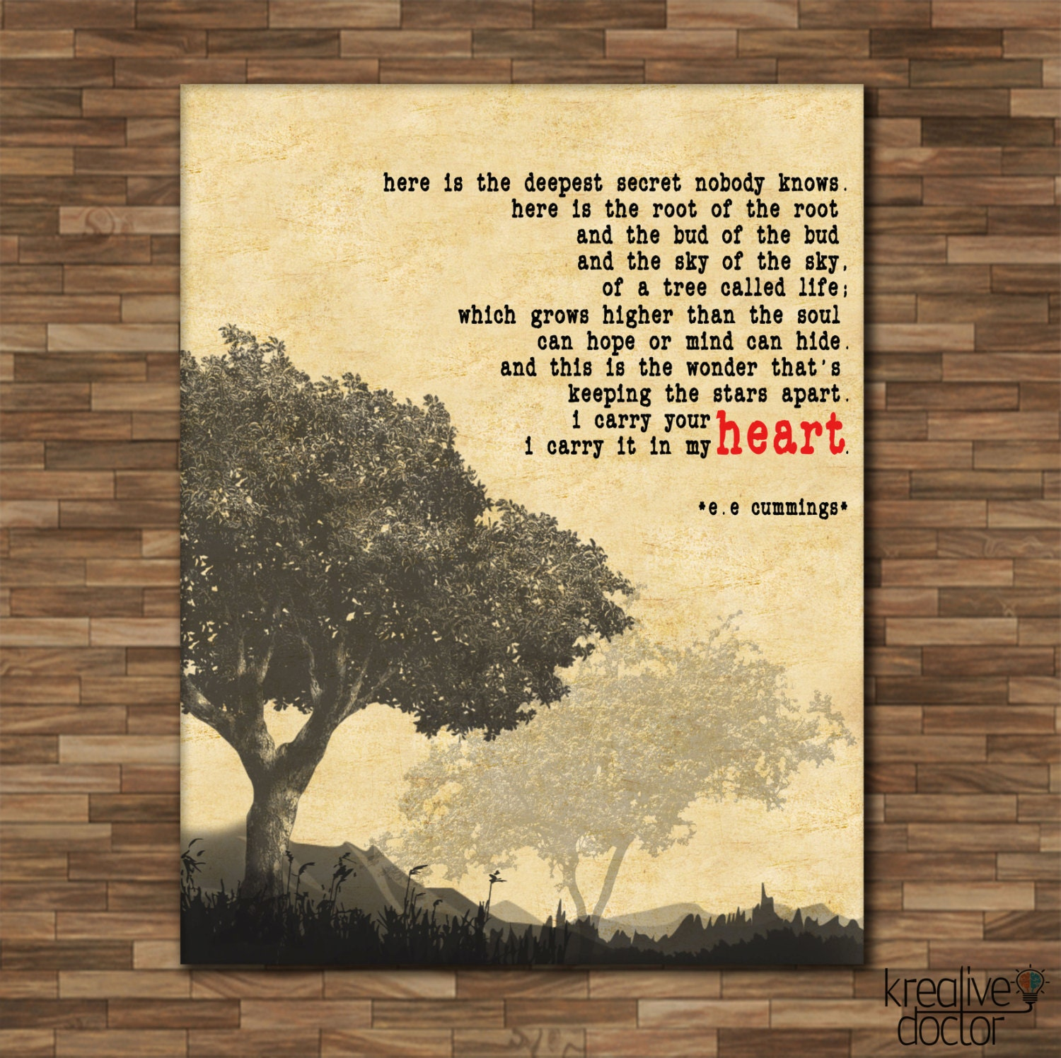 I Carry Your Heart EE Cummings Print Canvas Quotes Valentine
