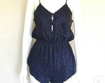 Early 90s negligee onsite  Sz small  Dark blue demask navy n indigo iridescent  Good cond