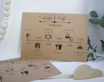 PRINTED Personalised Wedding Timeline on Rustic Kraft Recycled 280gsm Card - Custom Order of the Day Itinerary Schedule - Rustic Wedding 5x7