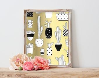 Gold Cactus Printable Art, Cactus Wall Art, Cactus Printable, Cactus Digital Download, Cactus Print, Best selling items Cactus printable art