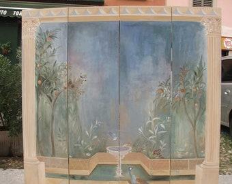 Screen with Pompeian Fresco
