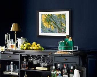 Sunflower ART | sunflower painting | mixed media art | collage art | floral print | art PRINT | blue yellow | sunflower picture | flower