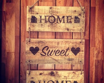 Rustic Handmade Wooden Home Sweet Home Sign