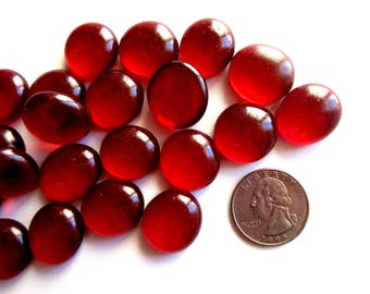 50 Dark Red Glass Gems, Deep Red Flat Marbles, Red Glass Pieces, Red Mosaic Pieces,Red Mosaic Tiles, Glass Mosaic Tiles, Red Vase Fillers