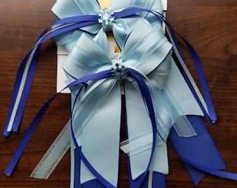 Blue Frozen Snowflake Equestrian Show Bows (Grand Champion Size)