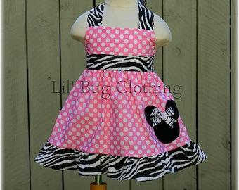 Custom Boutique Clothing Minnie Mouse Pink White Polka Dot Zebra  Halter Dress