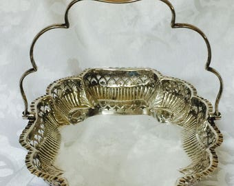 Antique Scalloped Silver Rectangular Tray with Bearclaw Cooper & Bros Sheffield Unique Elegant Patina Hotel Hoteliers Sterling Silver Plate