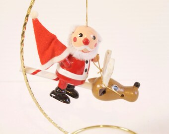 Vintage Wooden Santa riding Candy Cane Reindeer Christmas Ornament