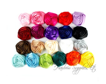 Folded Satin Rolled Flowers Rosettes 2 inch - Fabric Flowers, Satin Flowers, Satin Rosette, Hair Flower, Flower Heads, Flower Headband