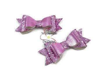 "Pink Glitter Leather Bows - 3.5"" Stacked Shimmery Bow with Tails - Faux Leather  Double Loop DIY Bows Headband Supplies - Set of 2 Bows"