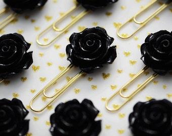Beautiful Black Rose Resin on Gold Planner Paper Clip for Your Erin Condren Filofax Kikki K Happy Planner Accessories