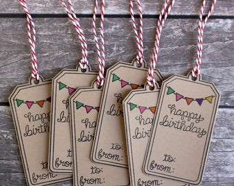 Happy Birthday Handmade Gift Tags Set of 6 - Hand-Stamped - Designs by J
