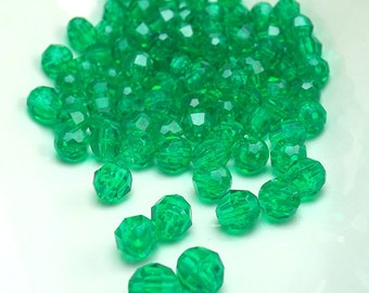 100 Green Faceted 6MM Acrylic Beads (H1766)