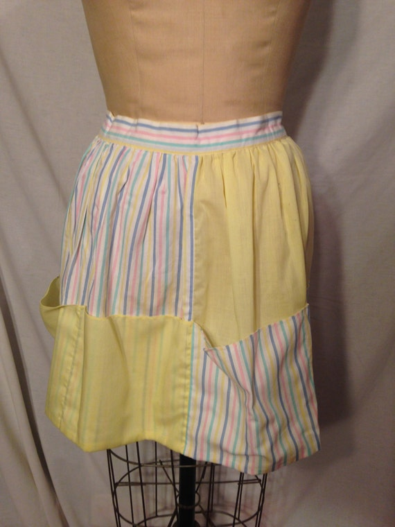 Yellow Pastel and Stripes Apron 1950s