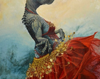 "Small (7x10"") Limited Edition Archival Giclee Print of ""Belly Dancer"" a belly dancing dinosaur"