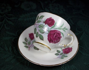 English Bone China Teacup Delphine Red Rose